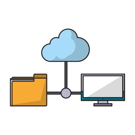 computer with documents folder and cloudicon cartoon isolated vector illustration graphic design
