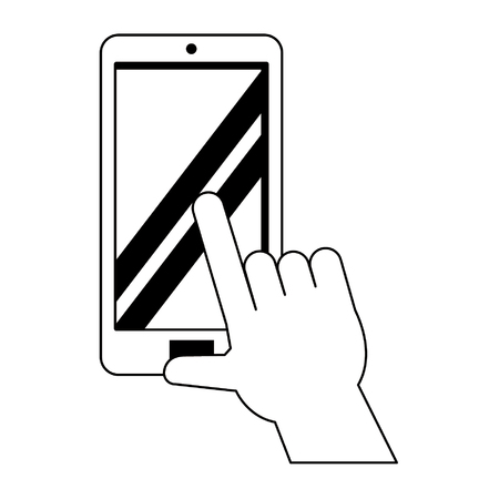 hands using cellphone icon cartoon vector illustration graphic design Ilustração