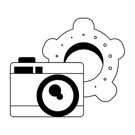 photographic camera and gears icon cartoon vector illustration graphic design