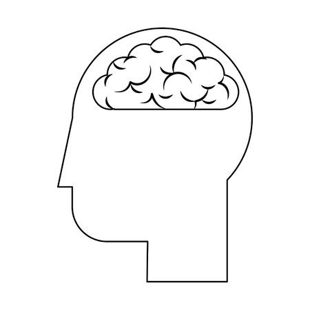 human head with brain icon cartoon vector illustration graphic design