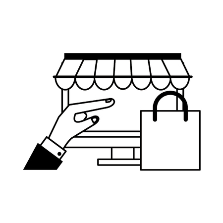 online shopping computer pc concept cartoon vector illustration graphic design in black and white