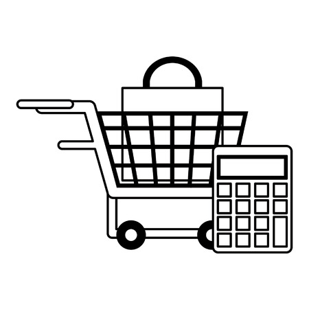 shopping concept budget elements cartoon vector illustration graphic design in black and white