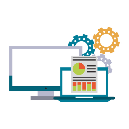 computer with documents and gears icon cartoon vector illustration graphic design