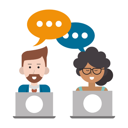 couple with speech bubble and laptops icon cartoon vector illustration graphic design