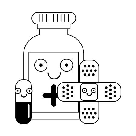 Materiały medyczne opieki zdrowotnej uśmiechnięte bajki wektor ilustracja projekt graficzny Ilustracje wektorowe