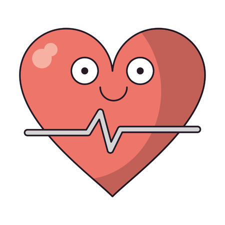 Medical heartbeat smiling cute cartoon vector illustration graphic design Stock Illustratie