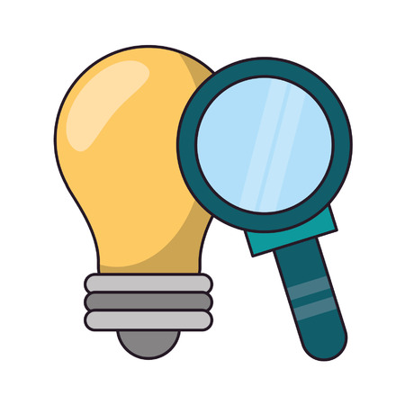 Bulb light and magnifying glass symbol vector illustration graphic design