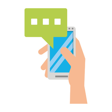 hand using cellphone and speech bubble icon cartoon vector illustration graphic design