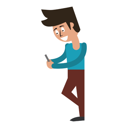 man using cellphone icon cartoon vector illustration graphic design