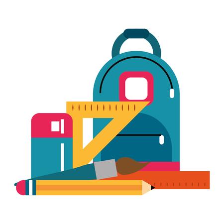 bag with school supplies icon cartoon vector illustration graphic design