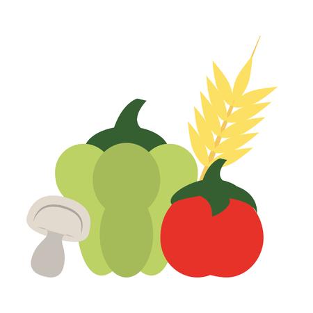 vegetable and wheat ear pepper tomato mushroom icon cartoon vector illustration graphic design