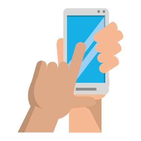 hands using cellphone icon cartoon vector illustration graphic design