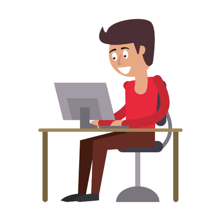 man using computer icon cartoon vector illustration graphic design