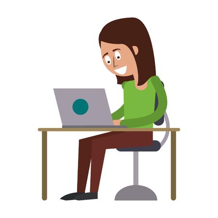 woman using laptop icon cartoon vector illustration graphic design
