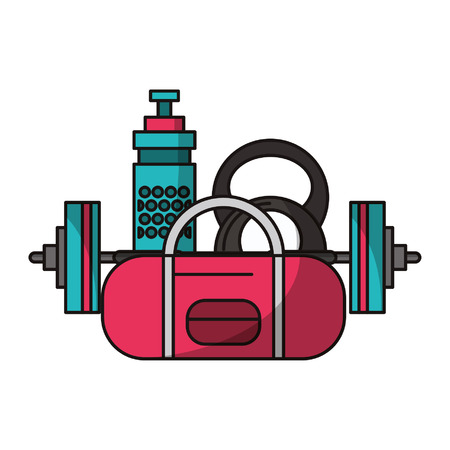 Fitness and sport equipment elements cartoons vector illustration graphic design