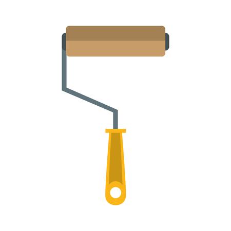Paint rolling pin construction tool cartoon vector illustration graphic design