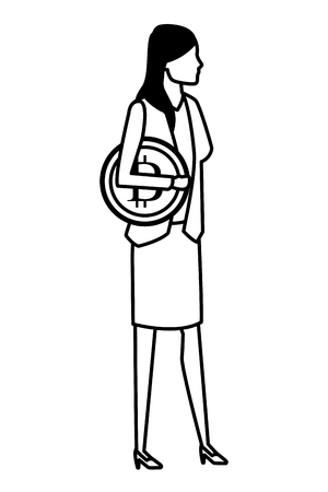businesswoman with cryptocurrency icon cartoon black and white vector illustration graphic design