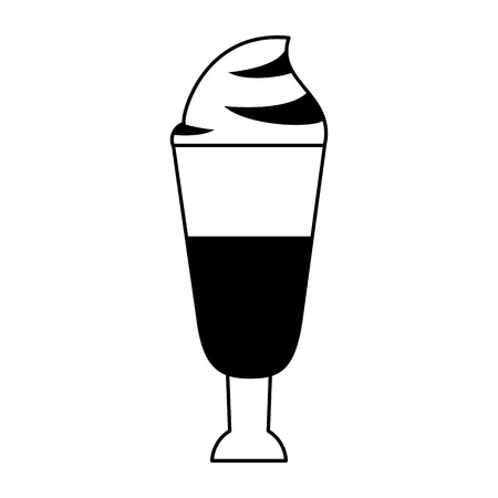 coffee shop concept element ice drink latte tall glass cartoon vector illustration graphic design in black and white Illusztráció
