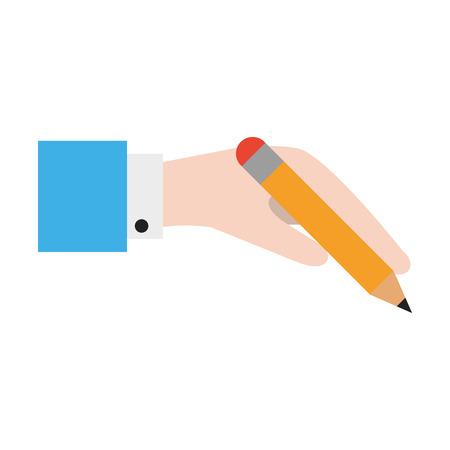 hand holding pencil icon cartoon vector illustration graphic design