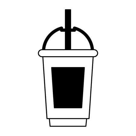 coffee cafe coffee shop concept element ice drink latte tall glass cartoon vector illustration graphic design in black and white