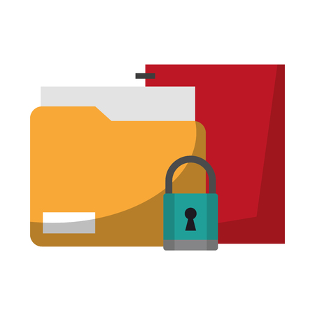 documents and padlock icon cartoon vector illustration graphic design