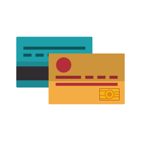 saving money credit cards cartoon vector illustration graphic design Illustration