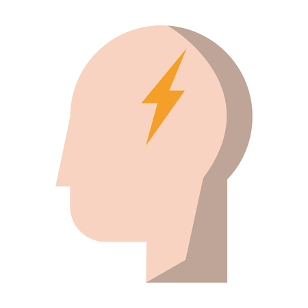 human head with thunderbolt icon cartoon vector illustration graphic design Vectores