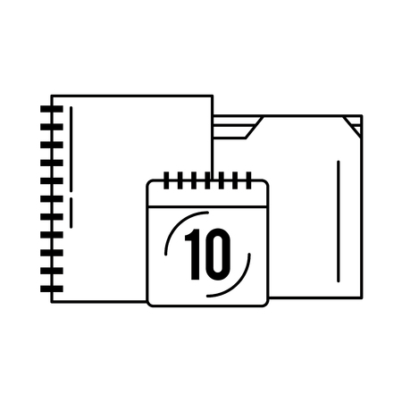 documents and calendar icon cartoon vector illustration graphic design black and white