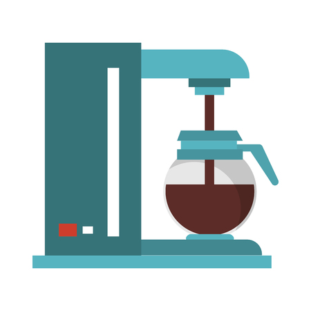 Coffee making machine with pot coffeeshop equipment pouring drink vector illustration graphic desing