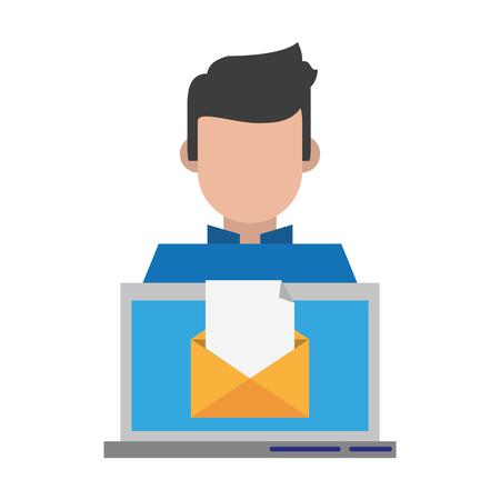 computer with envelope icon cartoon vector illustration graphic design Vectores