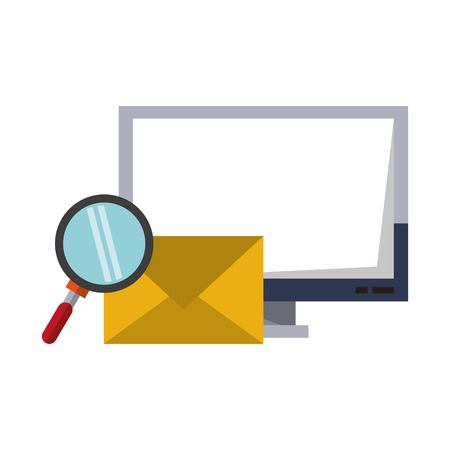 Computer email search business correspondance vector illustration graphic desing