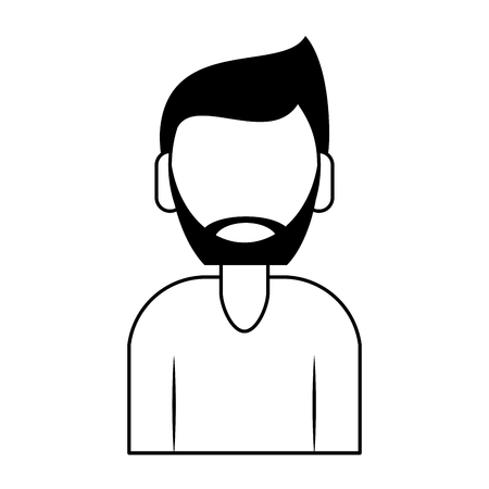 young man person upper body with beard cartoon vector illustration graphic design in black and white Illustration