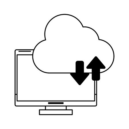 computer with cloud tranfer symbol icon cartoon vector illustration graphic design black and white