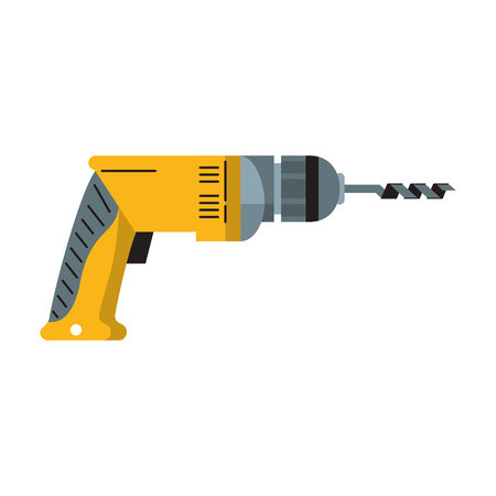 Drill construction tool cartoon vector illustration graphic design