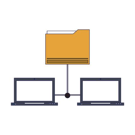 technology laptops software tools cartoon vector illustration graphic design
