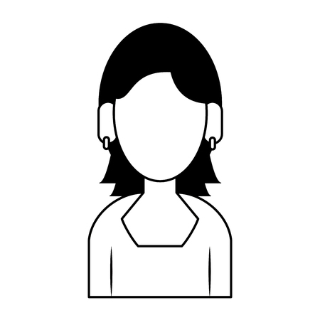 young woman person upper body wearing coat cartoon vector illustration graphic design in black and white