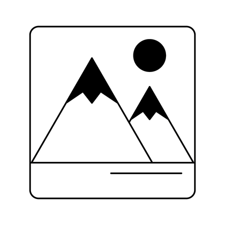 mountain landscape icon cartoon vector illustration graphic design black and white