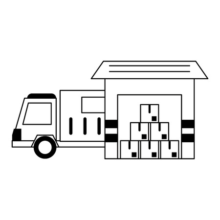 Delivery and logistics symbols and elements vector illustration graphic design Vettoriali