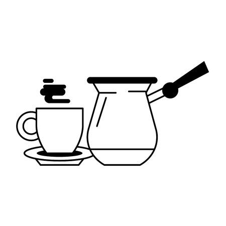 coffee cafe concept coffee shop elements cartoon vector illustration graphic design in black and white