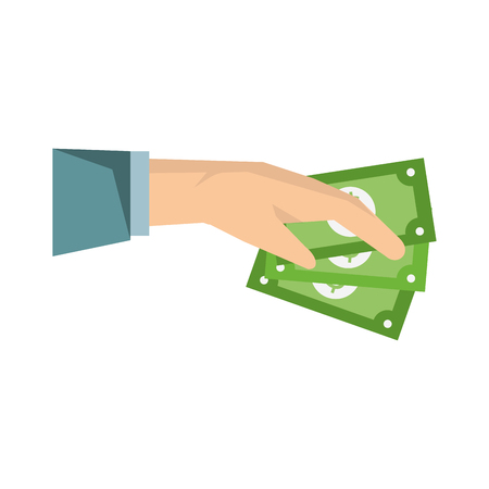 Had with cash cartoon isolated vector illustration graphic design