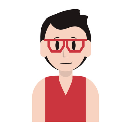 young man person upper body wearing glasses cartoon vector illustration graphic design Illustration