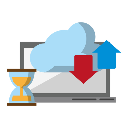 computer with cloud transfer and hourglass icon cartoon vector illustration graphic design Ilustrace
