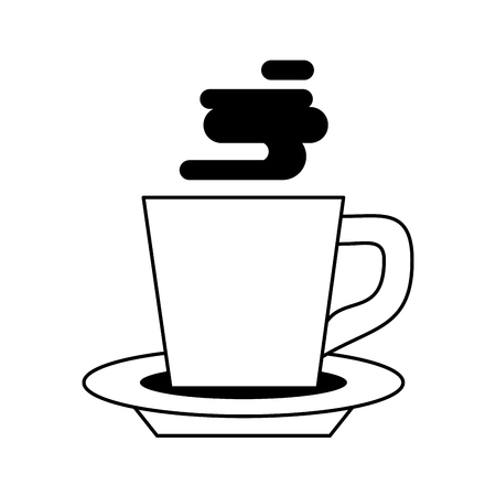coffee cafe coffee shop concept element hot drink cup porcelain mug cartoon vector illustration graphic design in black and white