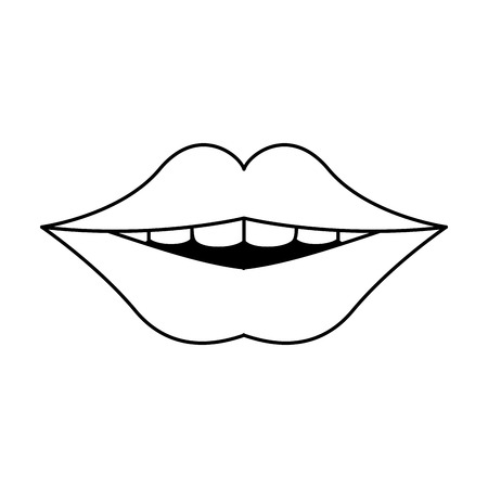 Mouth with clean teeth dental care vector illustration graphic design