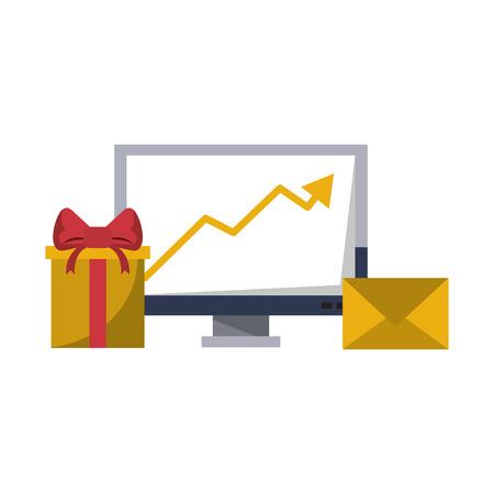 Livraison de cadeaux d'affaires tendance données logistique communication correspondance graphique illustration vectorielle desing graphique Vecteurs