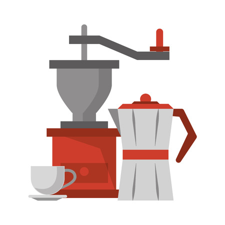 Coffee grinder kettle and coffee cup on plate coffeeshop equipment vector illustration graphic desing Çizim