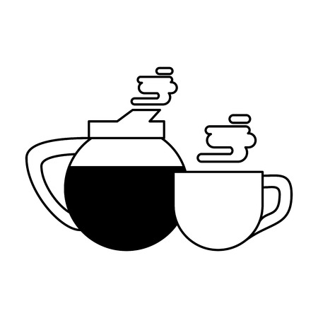 coffee cafe concept coffee shop elements hot drinks cartoon vector illustration graphic design in black and white