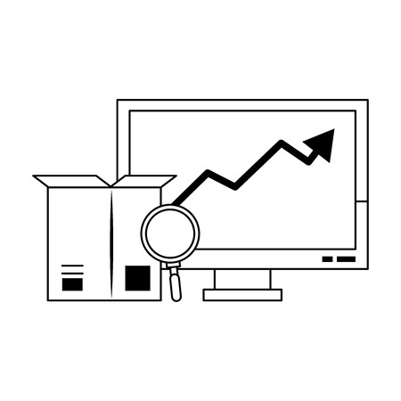 Online delivery data search tendency graph box and magnifying glass vector illustration graphic desing Çizim