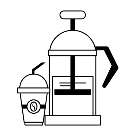 Manual coffee maker sweet drink with lid and straw coffeeshop equipment vector illustration graphic desing
