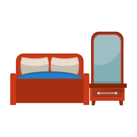 furniture concept bed scene cartoon vector illustration graphic design